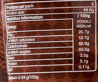 M&m's chocolate - Nutrition facts - en