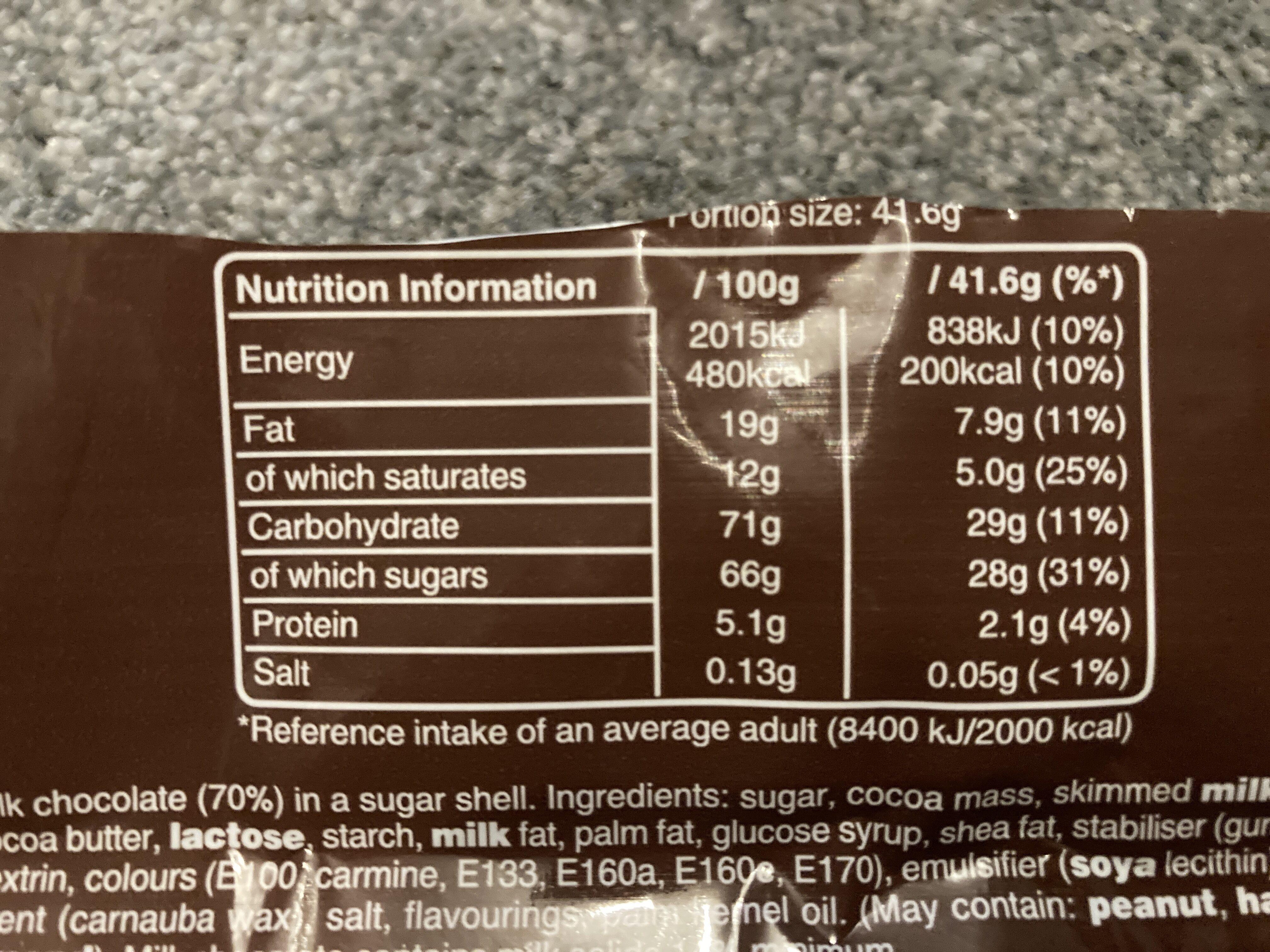 M&M's Chocolate - Nutrition facts - en