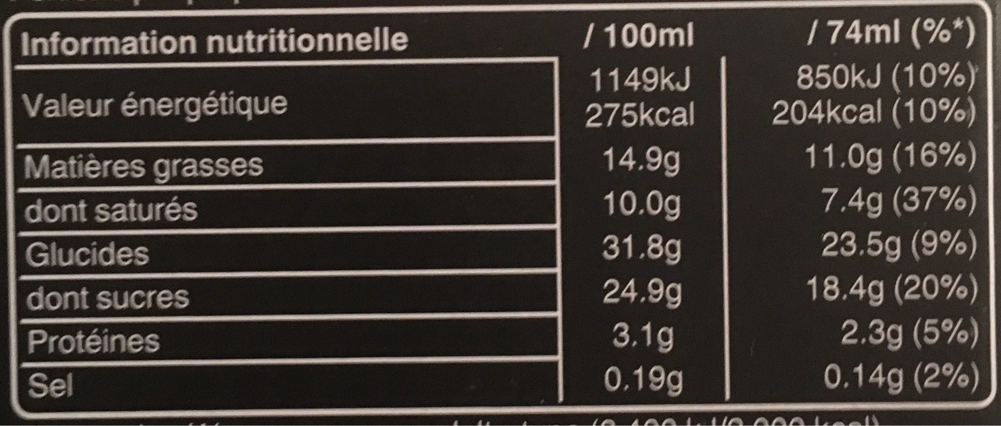 Maxi Barres - Informations nutritionnelles - fr