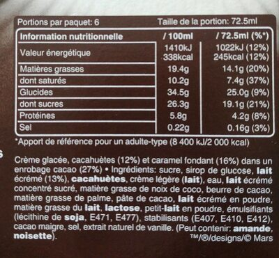 Snickers Maxi Barres glacées x6 - Informations nutritionnelles - fr