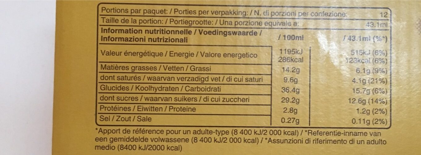 12 barres glacées XL, 12x43.1ml - Nutrition facts