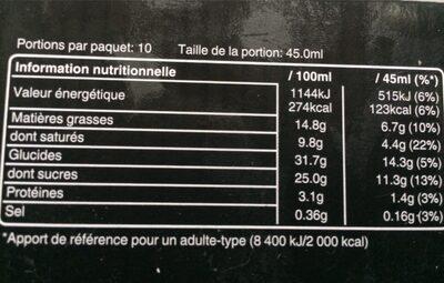 Barres glacées caramel beurre salé - Informations nutritionnelles