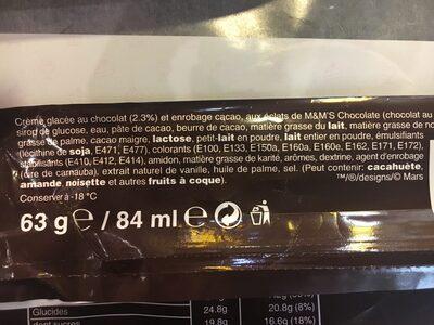 Chocolate M & M's Ice Cream - Ingrédients