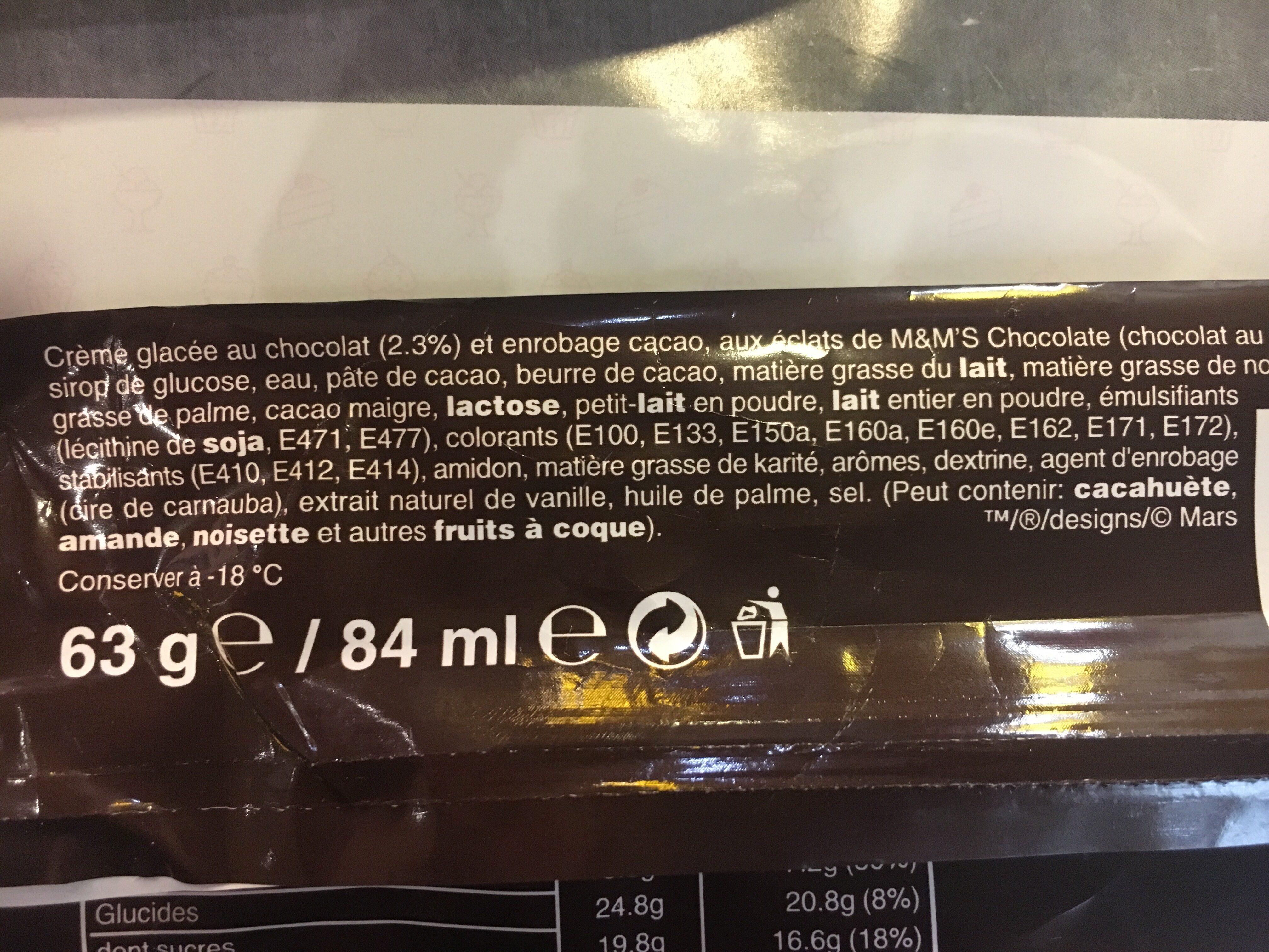 Chocolate M & M's Ice Cream - Ingrédients - fr