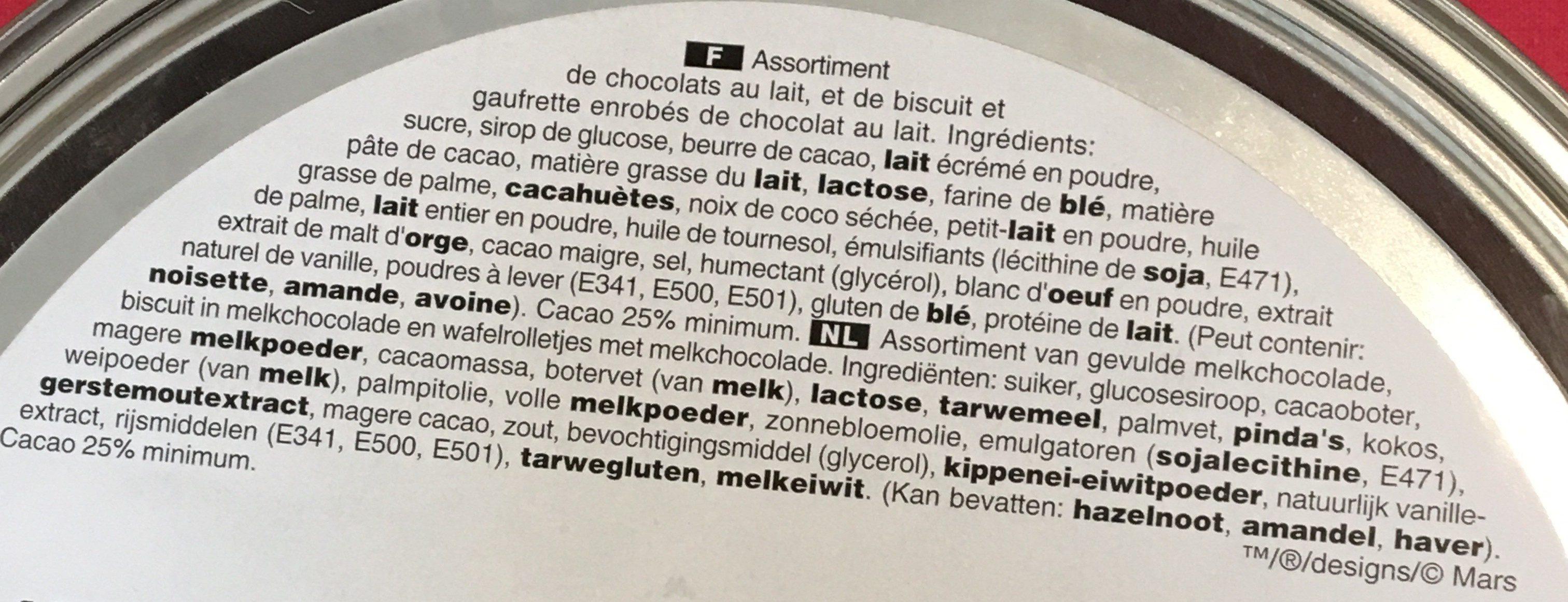 Chocolats assortiment Célébrations - Ingrédients