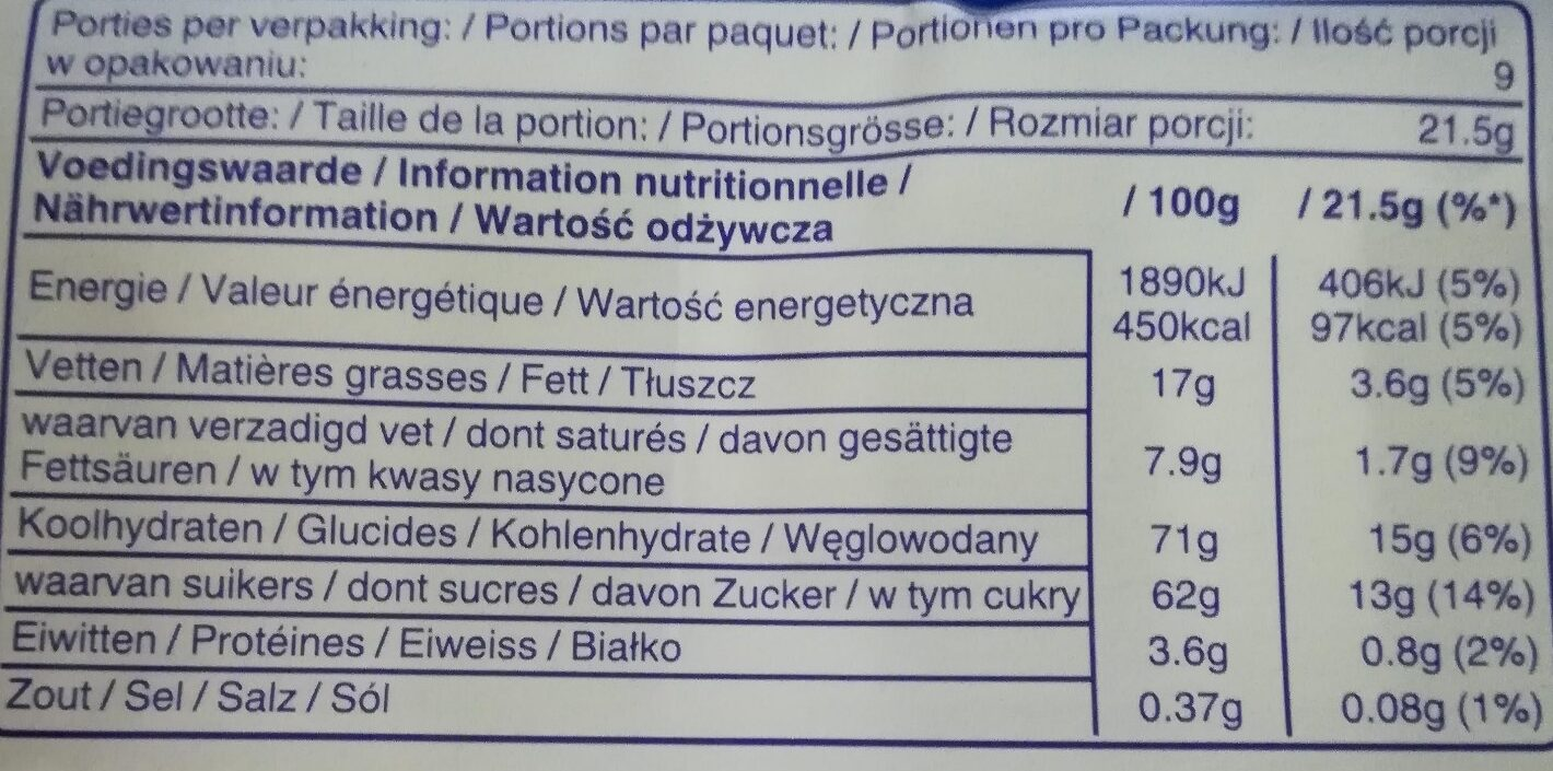 MilkyWay - Informations nutritionnelles - fr