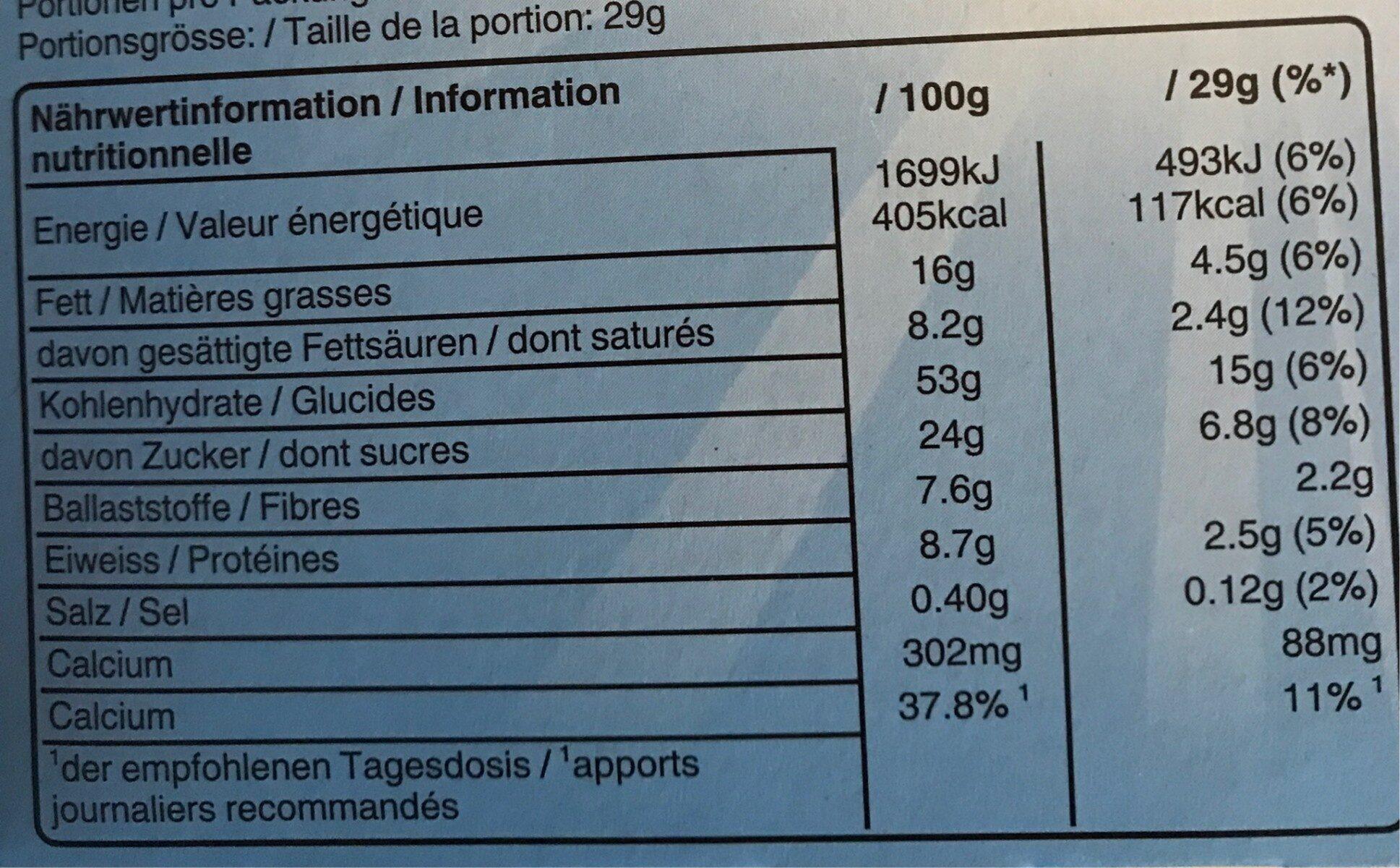 Balisto Milk - Informations nutritionnelles