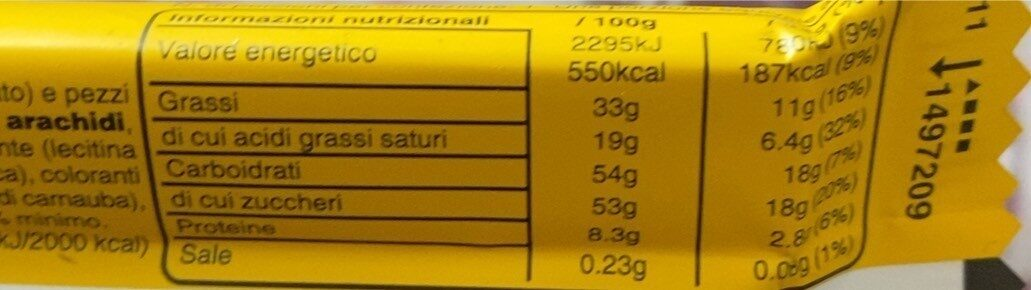 Barretta mem's peanut - Nutrition facts - en