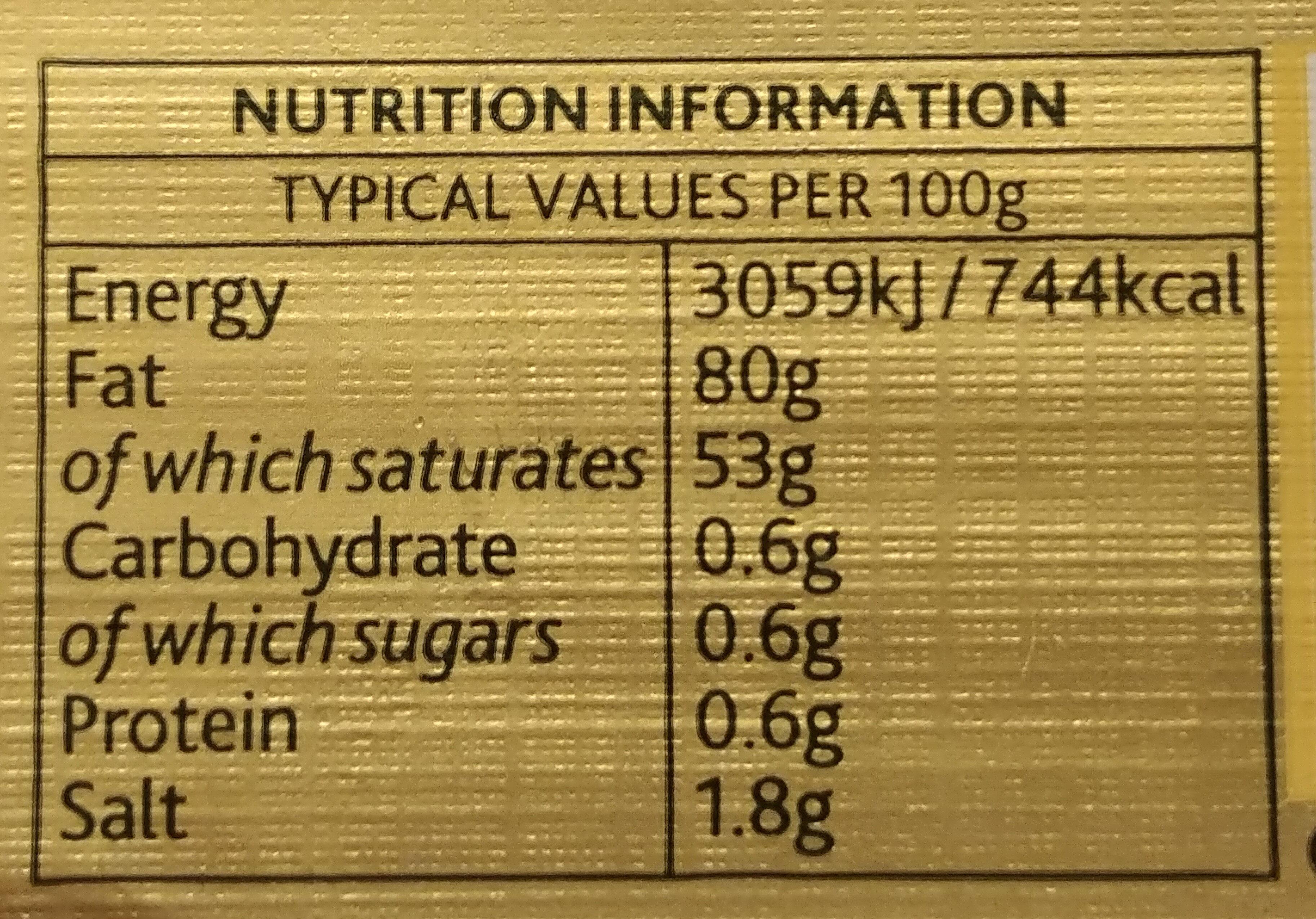 Pure Irish Butter - Nutrition facts - en