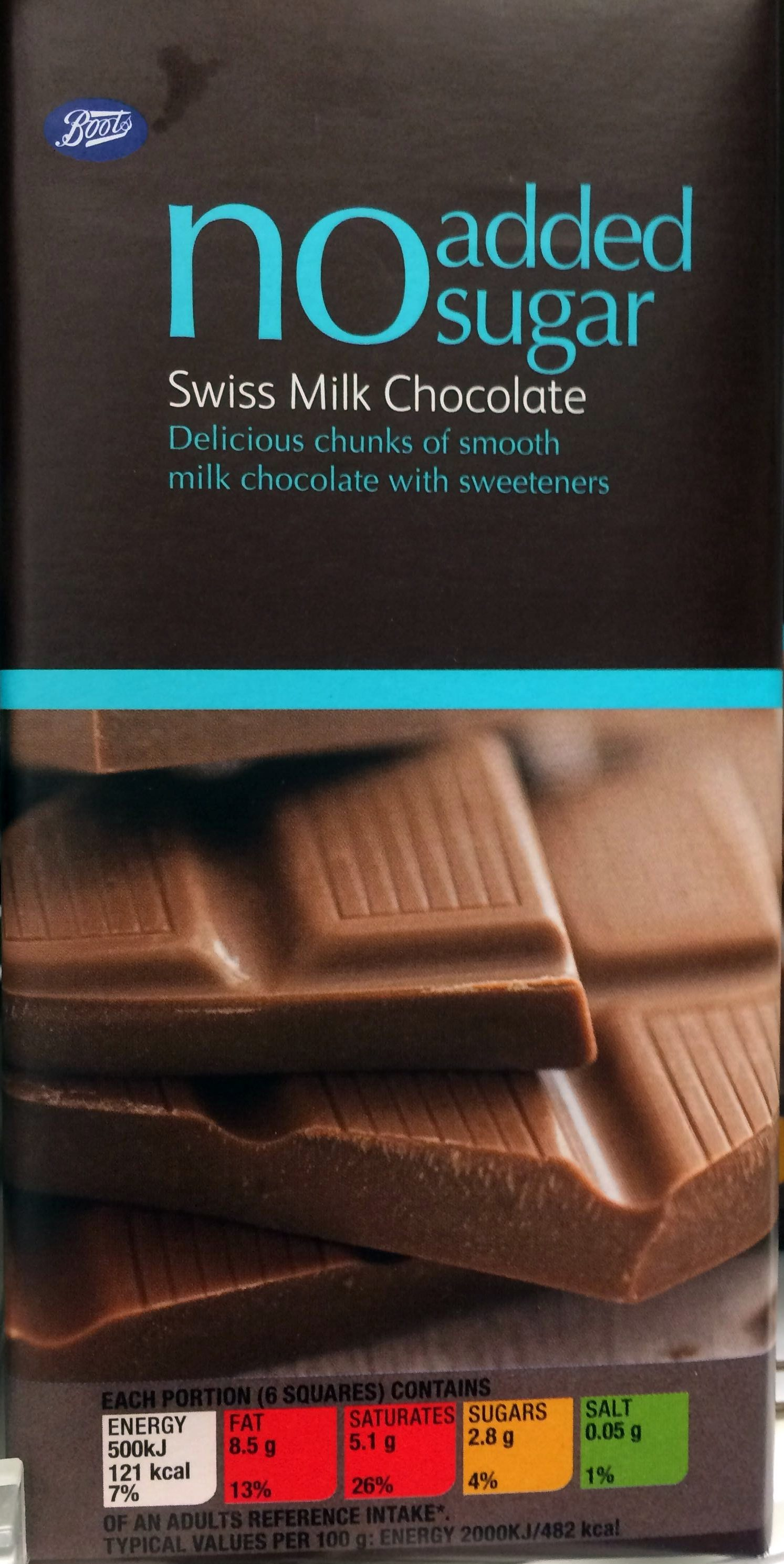 No Sugar Added Swiss Milk Chocolate Boots 100g