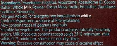 no sugar added Swiss milk chocolate - Ingredients