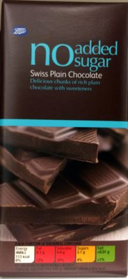 No added sugar swiss plain chocolate - delicous chunks of rich plain chocolate with sweeteners - Product