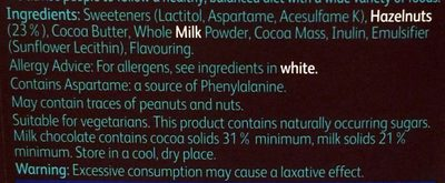 No sugar Swiss milk chocolate with hazelnuts - Ingredients