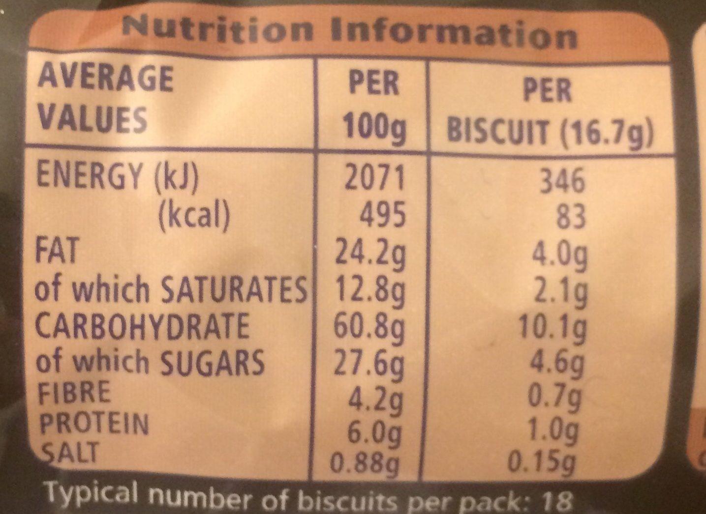 Digestives Dark Chocolate - Nutrition facts - en
