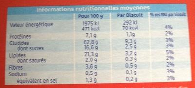 Mc Vitie's l'Original - Informations nutritionnelles - fr