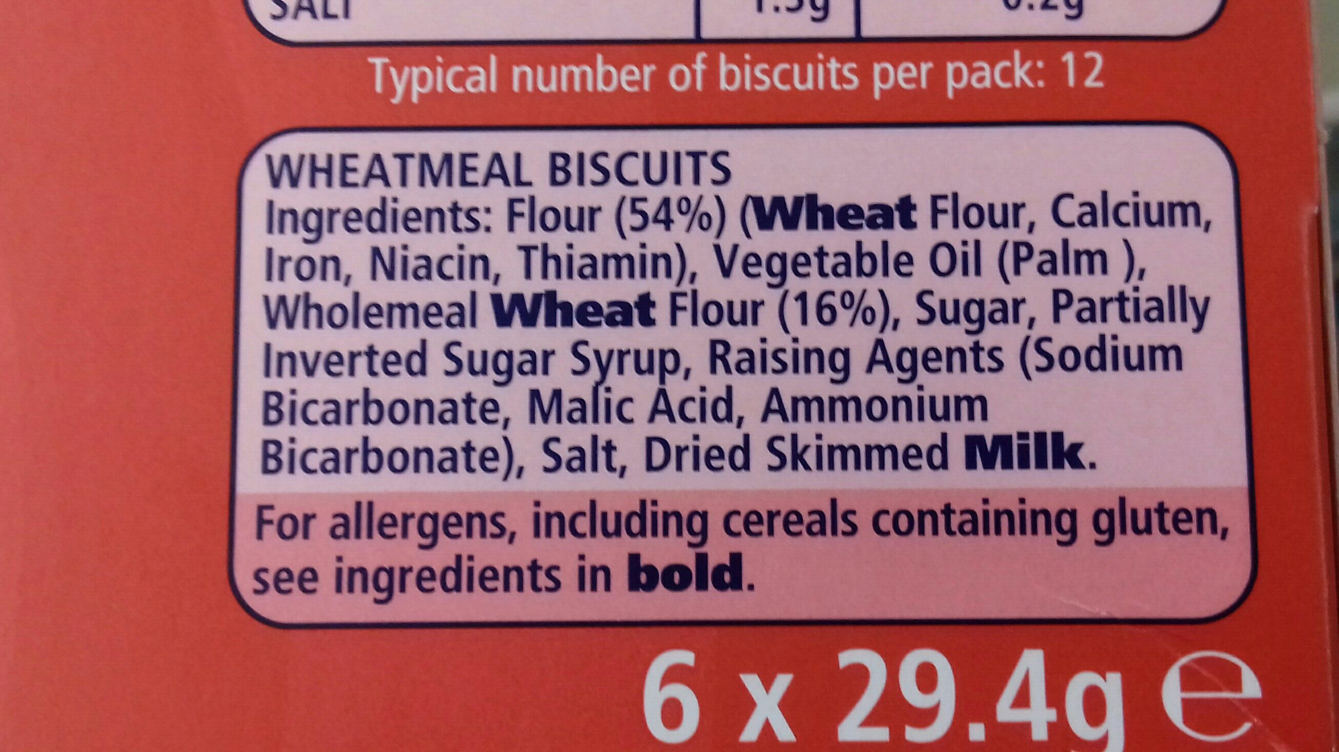 Mcvitie's Digestives To Go - Ingredients - en