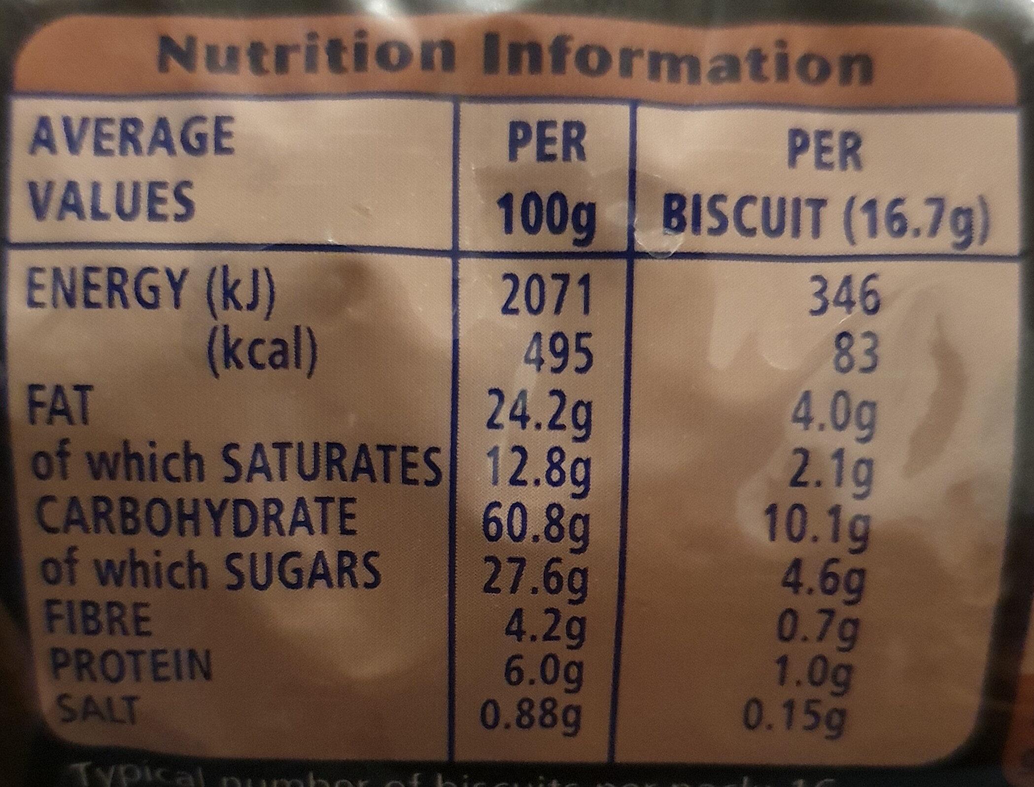 Digestives Dark chocolate - Informació nutricional - en