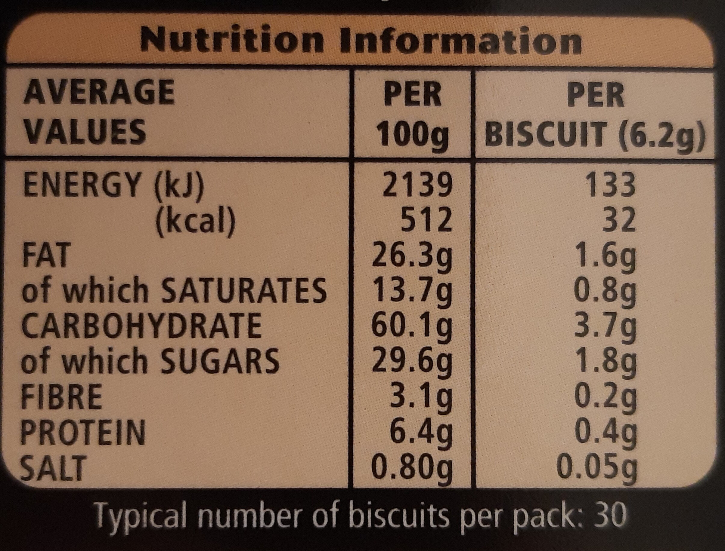 Mcvitie's Dark Chocolate Digestive Thins - Voedingswaarden - en