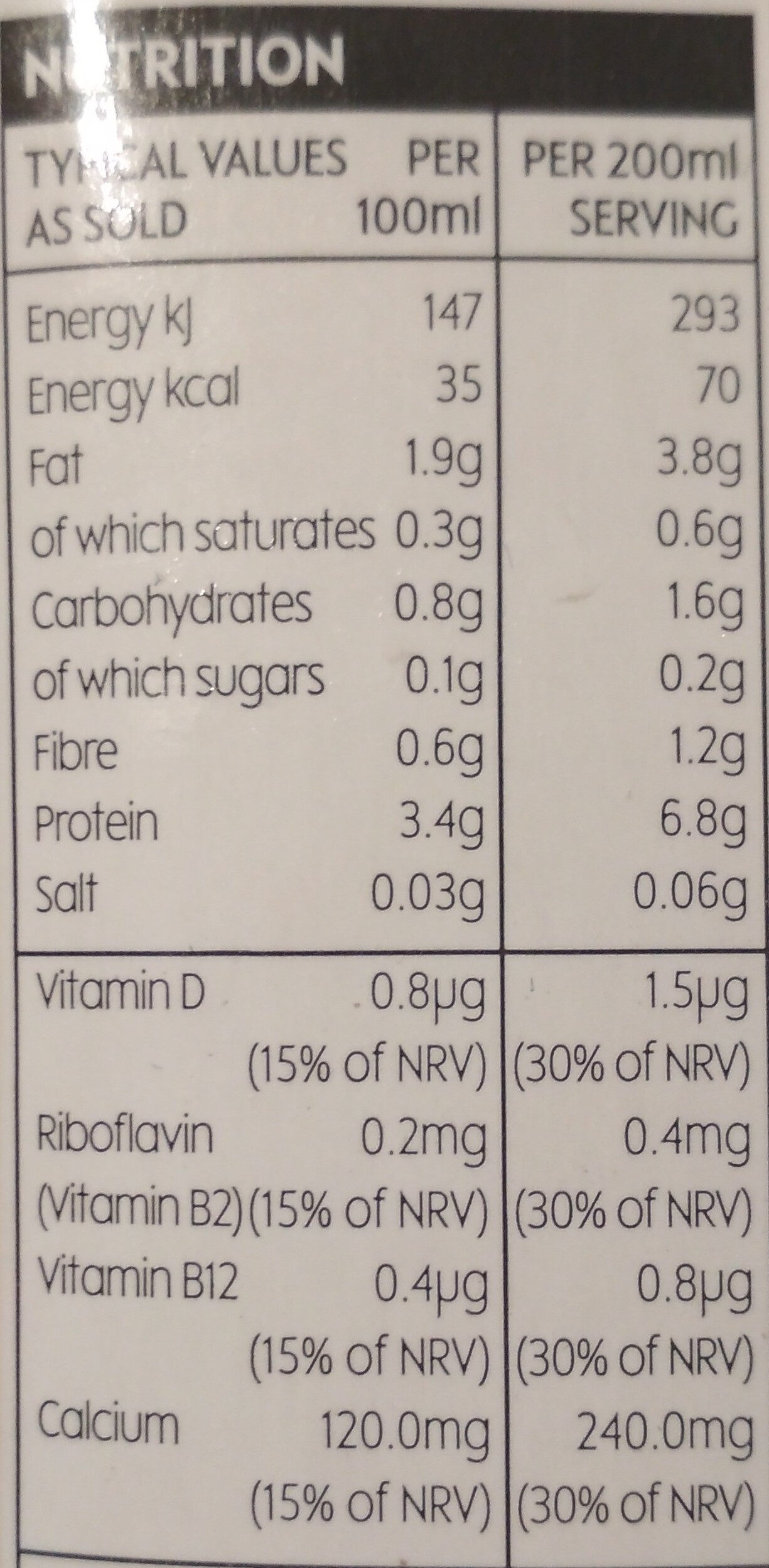 soya drink unsweetened - Nutrition facts