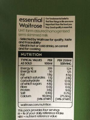 Semi-skimmed long life milk - Ingredients - en