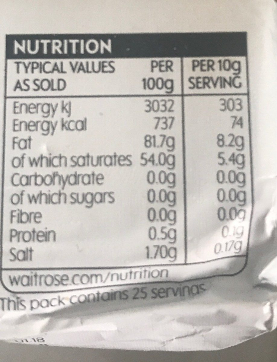Salted Dairy Butter - Nutrition facts