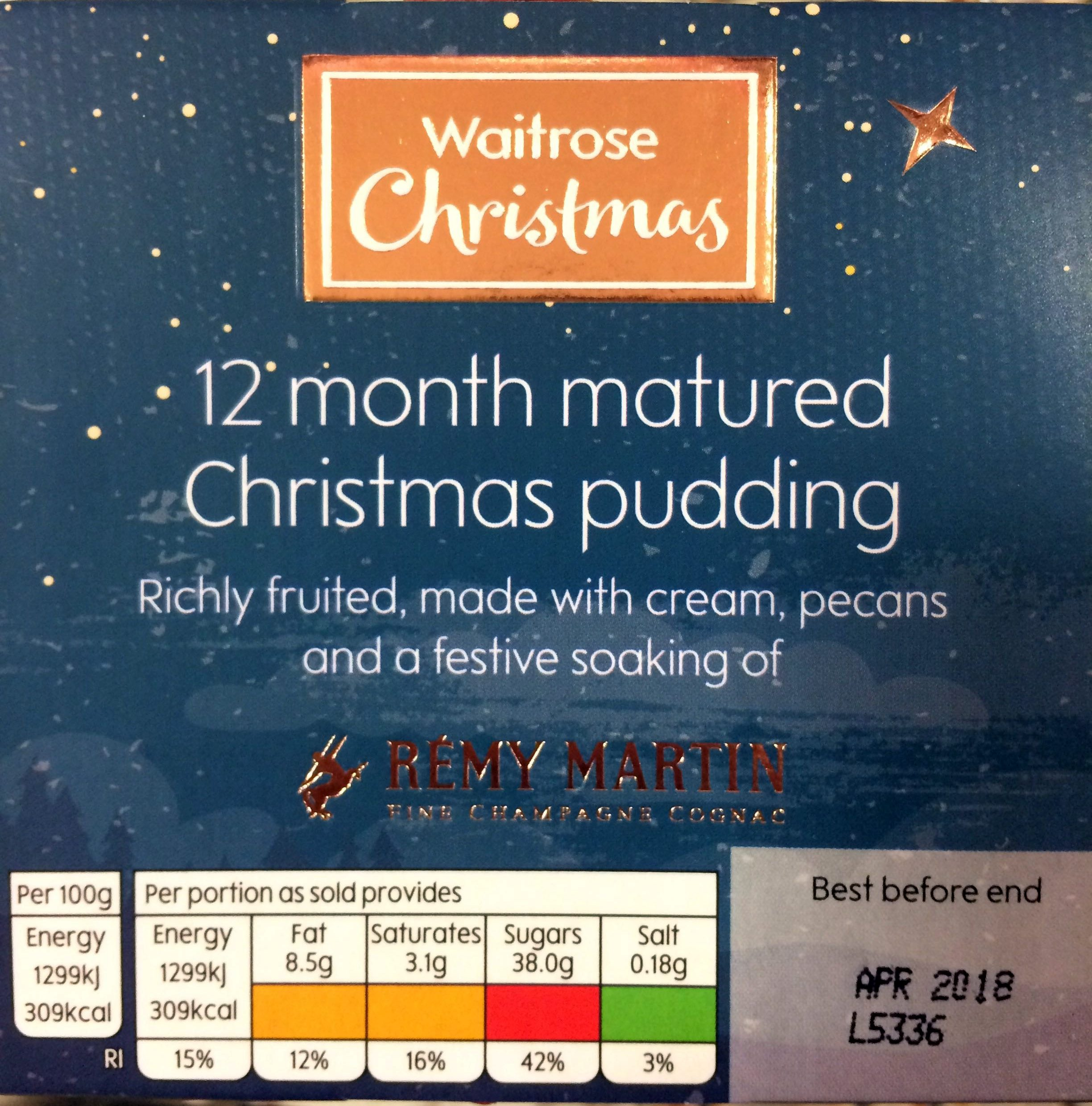 Richly Fruited Christmas Pudding 12 months matured, made with cream, pecans and a festive soaking of Rémy Martin Fine Champagne Cognac - Product