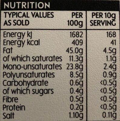 Olive Spread - Nutrition facts