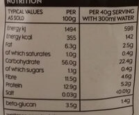 Porridge oats with wheatbran - Nutrition facts