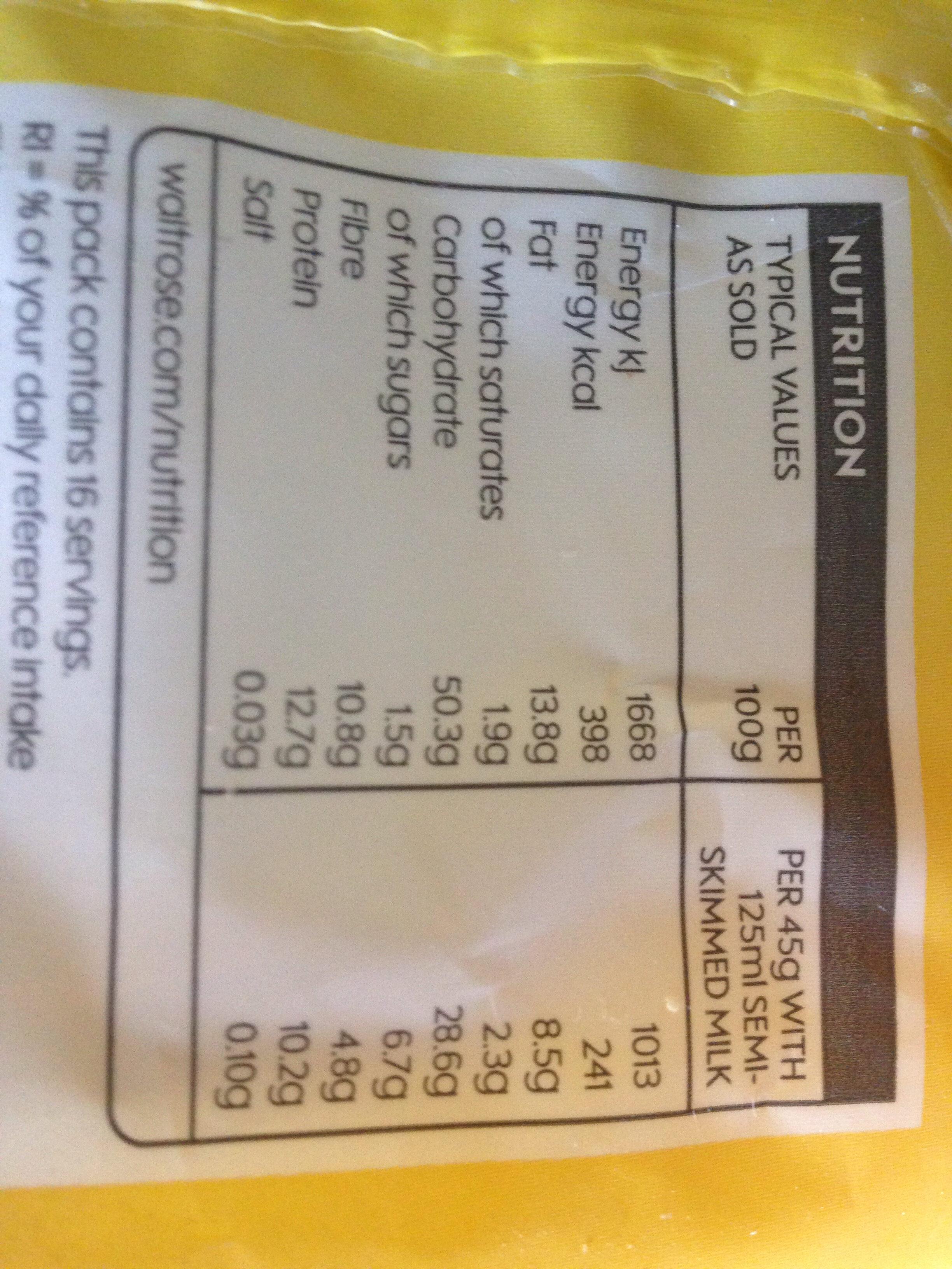Waitrose Muesli Base - Nutrition facts