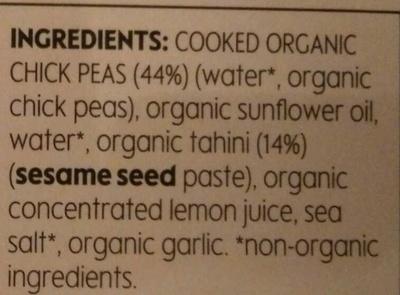 Houmous - Ingredients - en