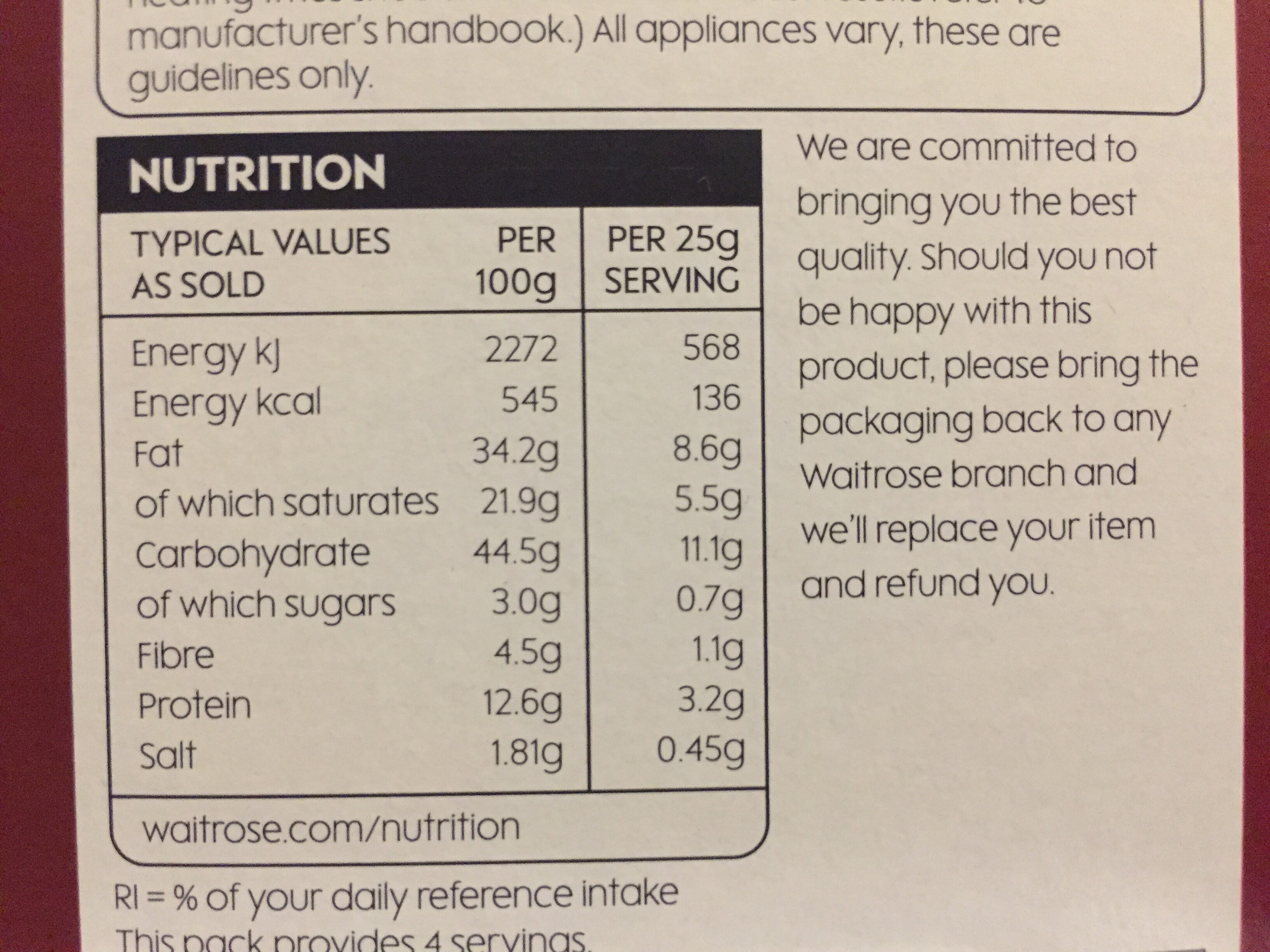 Fragrant all butter sundried tomato bites - Nutrition facts