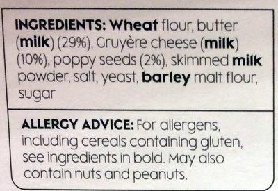 All Butter Gruyerè Cheese & Poppy Seed Twists - Ingredients - en