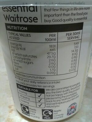 Essential Waitrose double cream - Nutrition facts