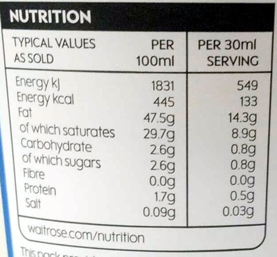 Extra thick double cream - Nutrition facts - en