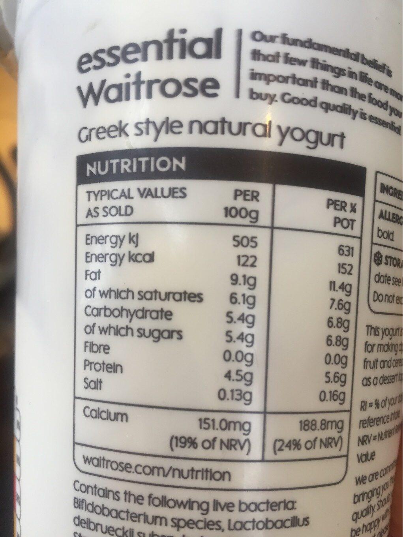 Greek style natural yogurt - Voedingswaarden