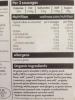 Organic free range british pork sausages with mixed herbs - Ingrédients - en