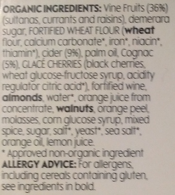 Organic Christmas Pudding - Ingredients