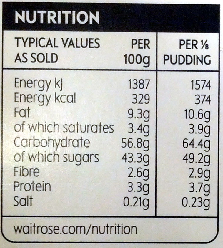 Organic Christmas Pudding - Nutrition facts