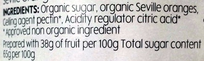 Organic Seville Orange Marmalade Fine Cut - Ingredients