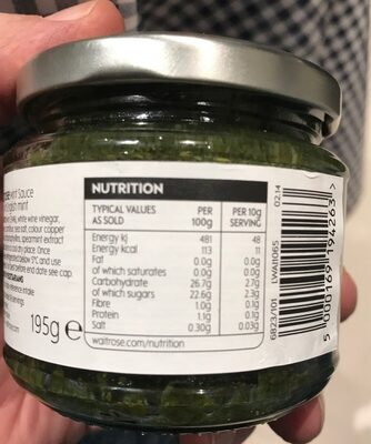 English mint sauce - Nutrition facts