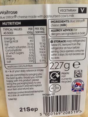 Creamy blue Long Clawson Stilton - Nutrition facts