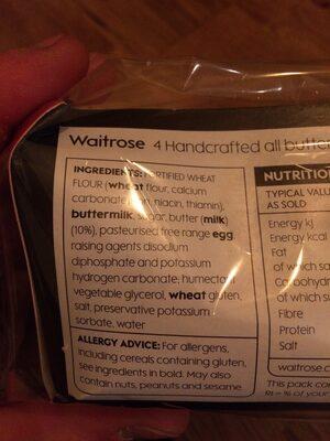 Waitrose 4 All Butter Scones - Ingredients