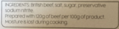 British Corned Beef - Ingredients
