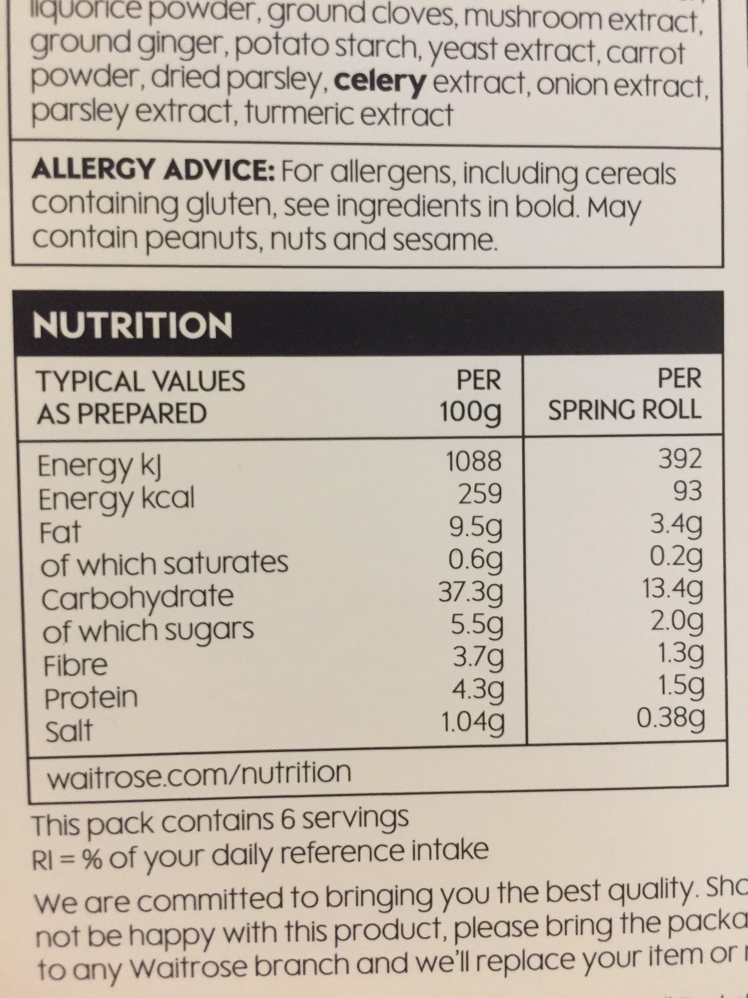 Vegetable spring rolls - Nutrition facts