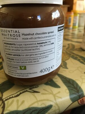 Hazelnut chocolate spread - Ingrédients - en