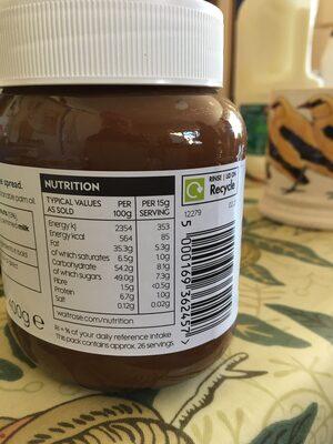 Hazelnut chocolate spread - Informations nutritionnelles - en