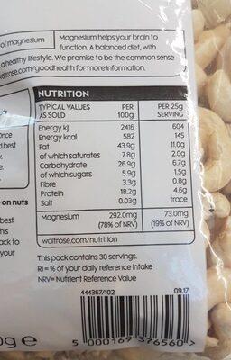 Cashew nuts - Voedingswaarden
