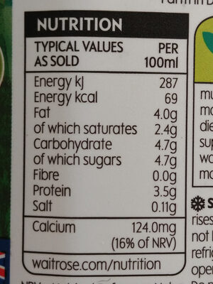 Whole Milk from Ayrshire Cows - Nutrition facts - en