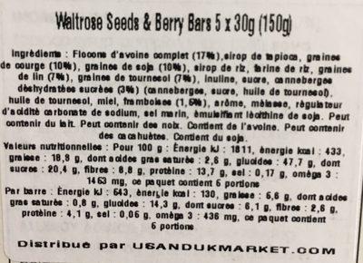 Seeds & berry bars - Ingredients