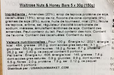 Nuts and honey bars - Ingredients